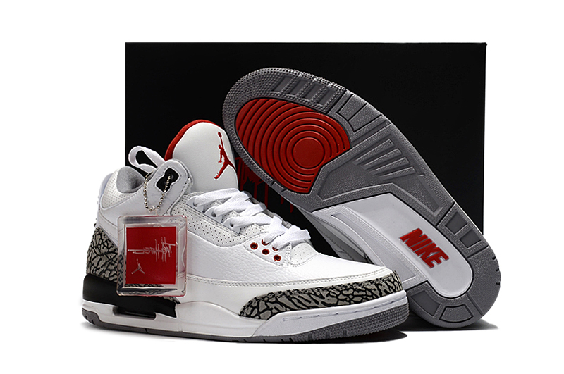 New Air Jordan 3 JTH NRG White Cement Red Shoes